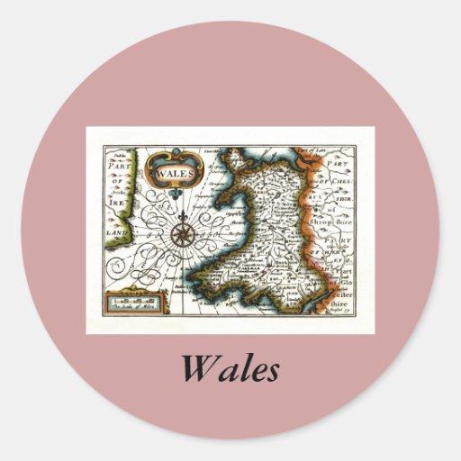 Carte et/ou drapeau du Pays de Galles Autocollants