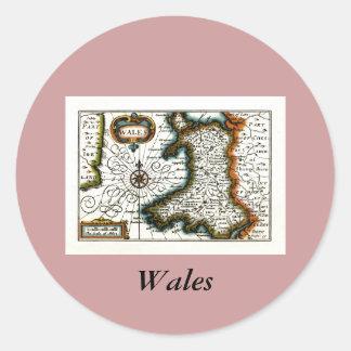 Carte et/ou drapeau du Pays de Galles Sticker Rond