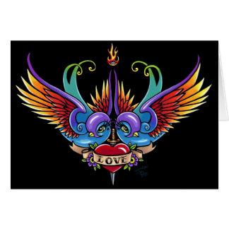 Carte éternelle de tatouage d'hirondelle