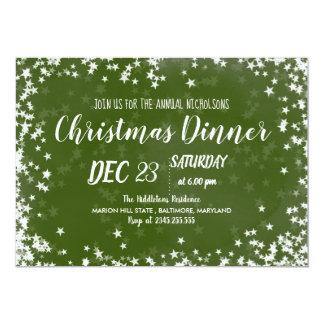 Carte Étoiles chics du dîner de Noël d'aquarelle verte |