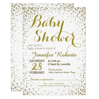 Carte Étoiles de scintillement d'or du baby shower |