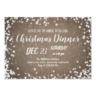 Carte Étoiles rustiques du dîner de Noël de pays de