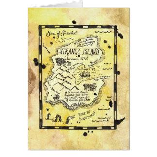 Carte étrange de carte de trésor de pirate d'île