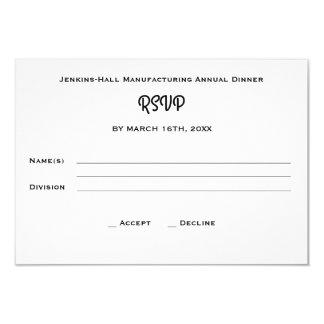 Carte Événement RSVP de dîner de compagnie d'entreprise