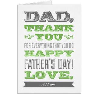 Carte faite sur commande de fête des pères