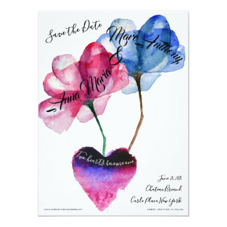 Carte Faites gagner la date - les fleurs et le coeur