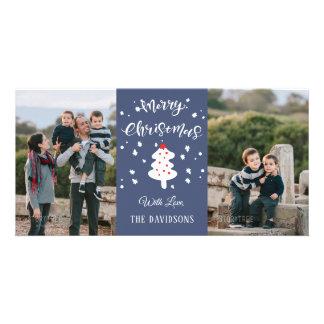 Carte Famille bleue de Noël