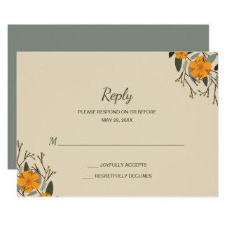 Carte Familles mélangées RSVP l'épousant floral beige