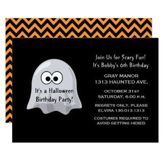 Carte Fantôme mignon de fête d'anniversaire de Halloween