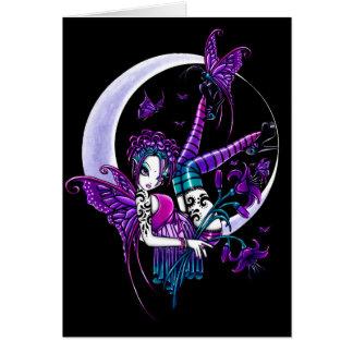 Carte féerique d'art de lune de papillon