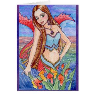 Carte féerique d'imaginaire de mer de sirène par