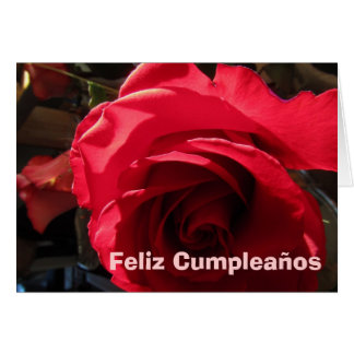 Carte - Feliz Cumpleaños - Rosa Roja