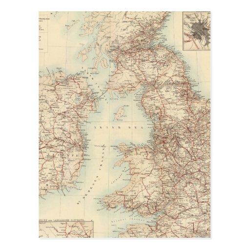 Carte ferroviaire des îles britanniques carte postale