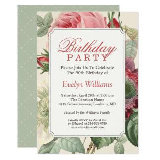 Carte Fête d'anniversaire adulte florale botanique
