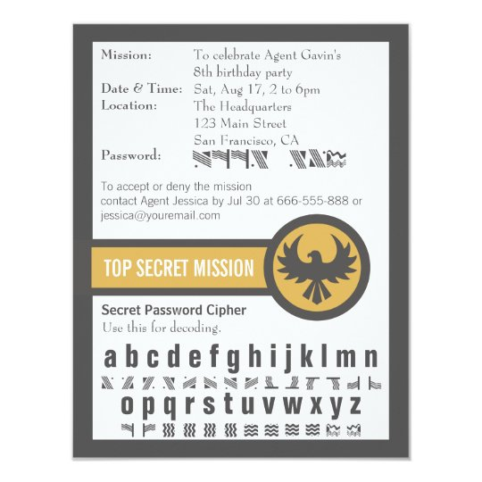 Super Carte Fête d'anniversaire d'agent secret de mot de passe | Zazzle.fr MF74