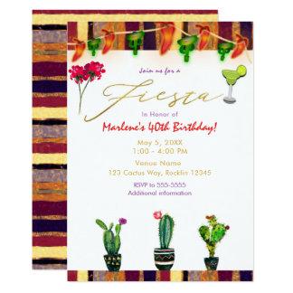 Carte Fête d'anniversaire de cactus de sud-ouest d'or de