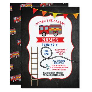 Carte Fête d'anniversaire de camion de pompe à incendie