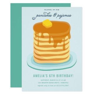 Carte Fête d'anniversaire de crêpes et de pyjamas
