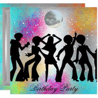Carte Fête d'anniversaire de disco de danse psychodelic