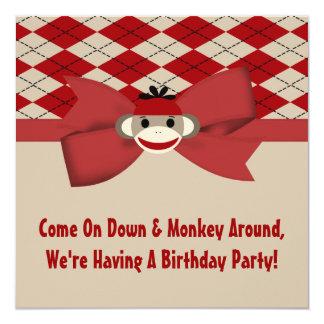 Carte Fête d'anniversaire de guingan de garçon de singe