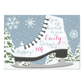 Carte Fête d'anniversaire de patinage de glace pour des