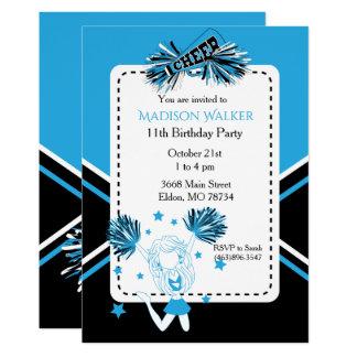 Carte Fête d'anniversaire de pom-pom girl dans les bleus