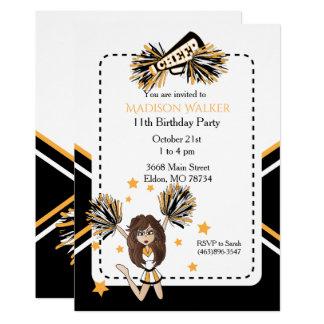 Carte Fête d'anniversaire de pom-pom girl en blanc, noir
