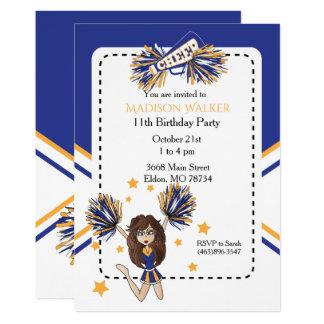 Carte Fête d'anniversaire de pom-pom girl en bleu et or