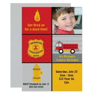 Carte Fête d'anniversaire de pompe à incendie