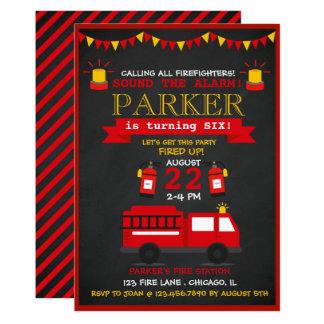 Carte Fête d'anniversaire de pompier de tableau