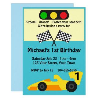 Carte Fête d'anniversaire de voiture de course