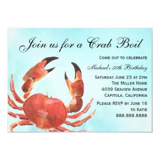 Carte Fête d'anniversaire d'été d'ébullition de crabe de