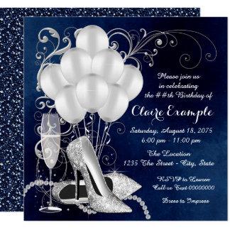 Carte Fête d'anniversaire élégante d'argent du bleu