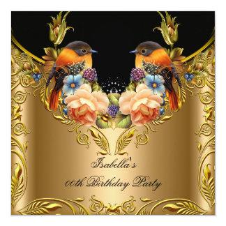 Carte Fête d'anniversaire élégante de noir d'oiseau de