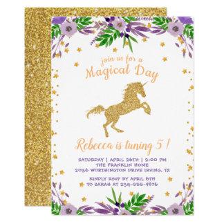 Carte Fête d'anniversaire florale d'aquarelle de licorne