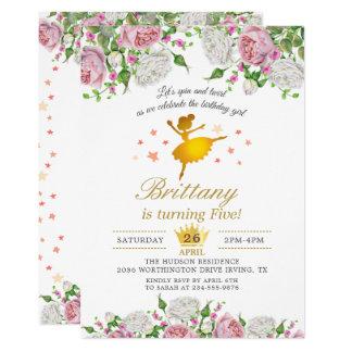 Carte Fête d'anniversaire florale de fille de ballerine