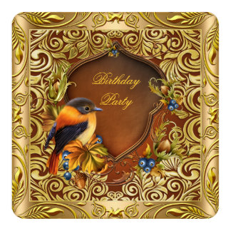 Carte Fête d'anniversaire florale élégante d'or de café