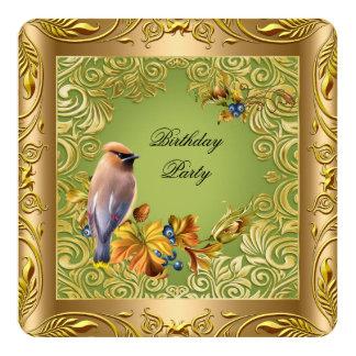 Carte Fête d'anniversaire florale élégante d'or vert