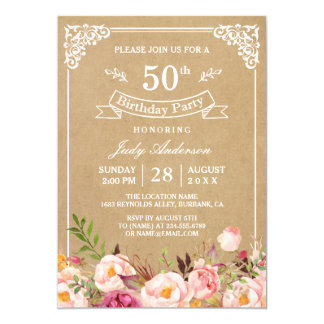 Carte Fête d'anniversaire florale rustique vintage