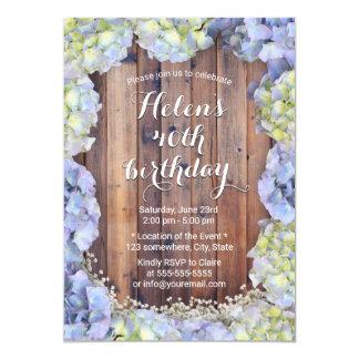Carte Fête d'anniversaire florale vintage d'hortensia
