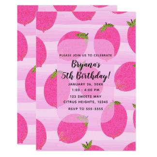 Carte Fête d'anniversaire lumineuse de citrons de fruit
