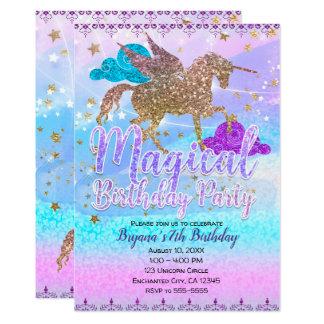 Carte Fête d'anniversaire magique de licorne de vol de