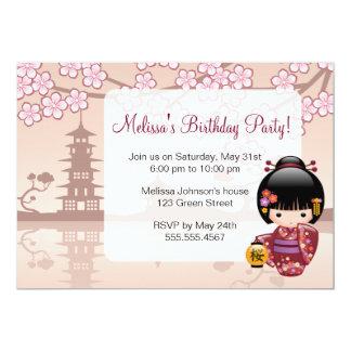 Carte Fête d'anniversaire mignonne de geisha de poupée