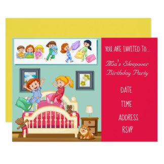Carte Fête d'anniversaire mignonne de sleepover