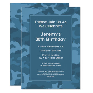 Carte Fête d'anniversaire militaire de thème de Camo