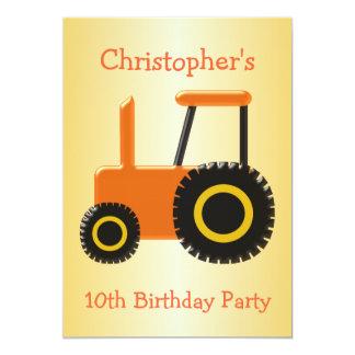 Carte Fête d'anniversaire orange de tracteur