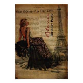 Carte fête d'anniversaire parisienne girly de Tour
