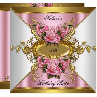 Carte Fête d'anniversaire rose d'or blanc de roses