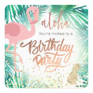 Carte fête d'anniversaire tropicale de flamant