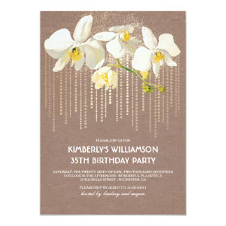 Carte Fête d'anniversaire vintage d'orchidée de